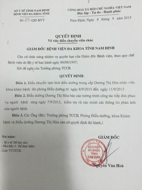Quyết định điều chuyển điều dưỡng Dương Thị Hòa