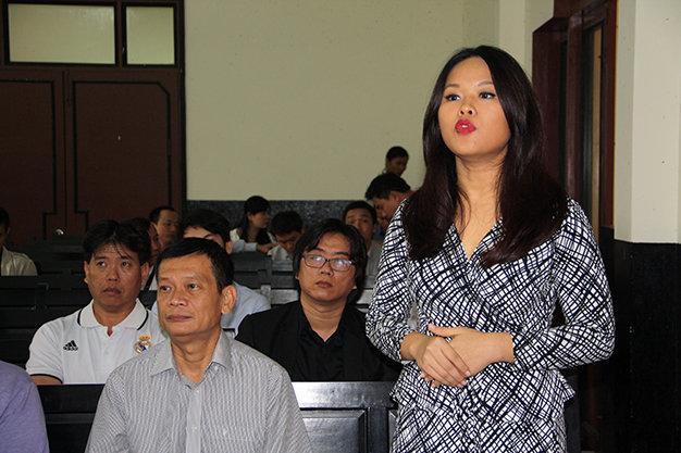 Bà Bích đại diện công ty Tân Hiệp Phát tại phiên tòa - Ảnh: Thanh Tú