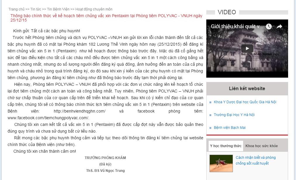 Bệnh viện ĐH quốc gia Hà Nội gửi lời xin lỗi các bậc phụ huynh trên website bệnh viện.