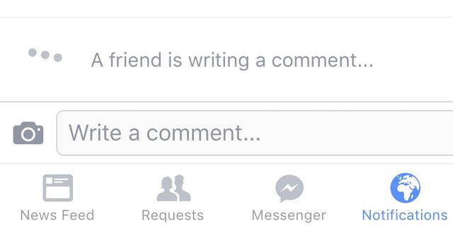 Thông báo một người bạn đang comments trên Facebook