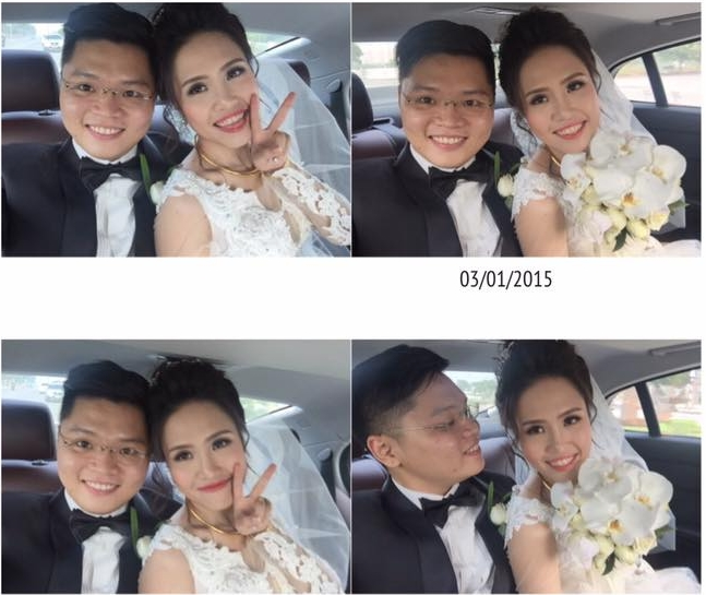 Anh trai và chị dâu Kỳ Duyên nhí nhảnh tạo dáng trên xe hoa