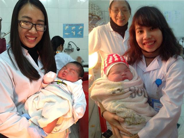 Các bác sĩ ở khoa Sản - Bệnh viện Đa khoa Công an tỉnh Nam Định chụp ảnh với thiên thần 6,1kg.