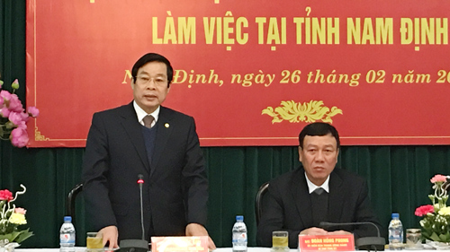 Bộ trưởng Nguyễn Bắc Son phát biểu tại buổi làm việc.