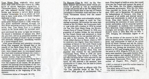 Mục từ Võ Nguyên Giáp và Trần Hưng Đạo trong TNEB (The New Encyclopedia Britannia)