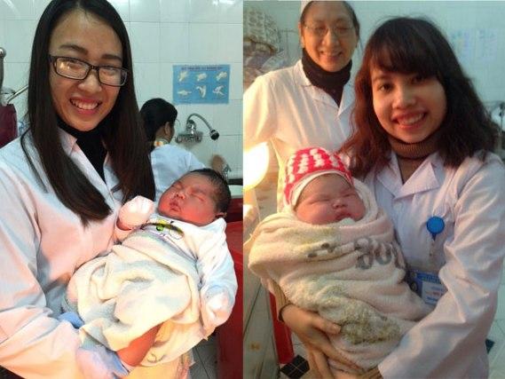 Các bác sĩ ở Khoa Sản Bệnh viện Đa khoa Công an tỉnh Nam Định chụp ảnh với thiên thần 6,1kg.
