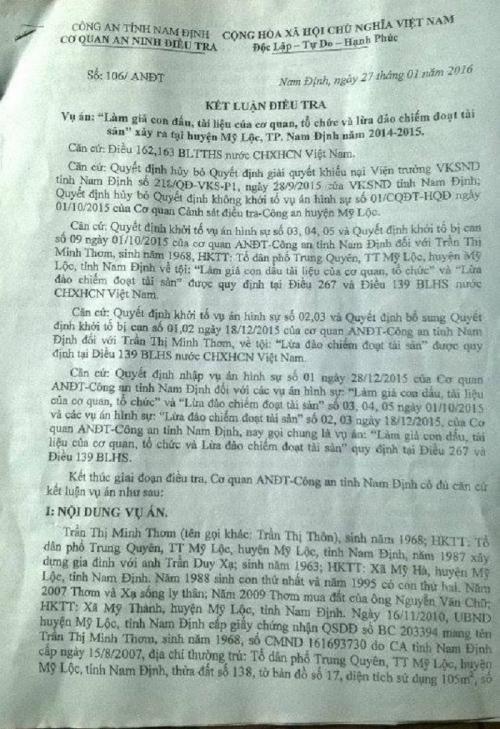 Kết luận điều tra của Cơ quan ANĐT- Công an tỉnh Nam Định.