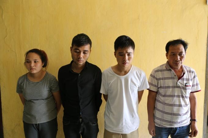 4 đối tượng bị bắt giữ tại Cơ quan công an.