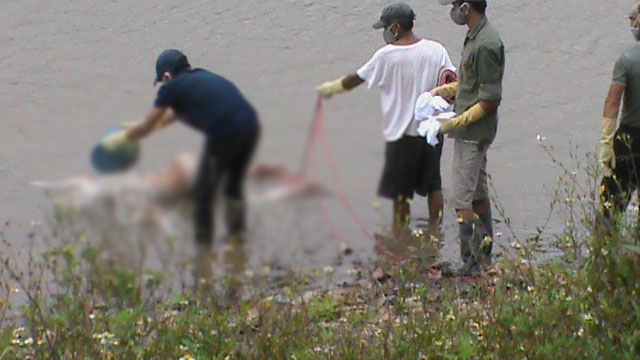 Thi thể cô gái đã được người dân kéo vào bờ.