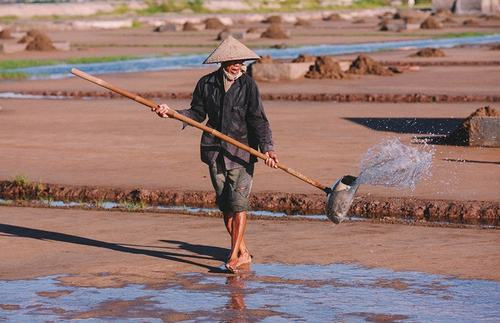Từ sáng sớm, họ đã phải thức dậy để làm đất, tưới nước biển lên ruộng để phơi.
