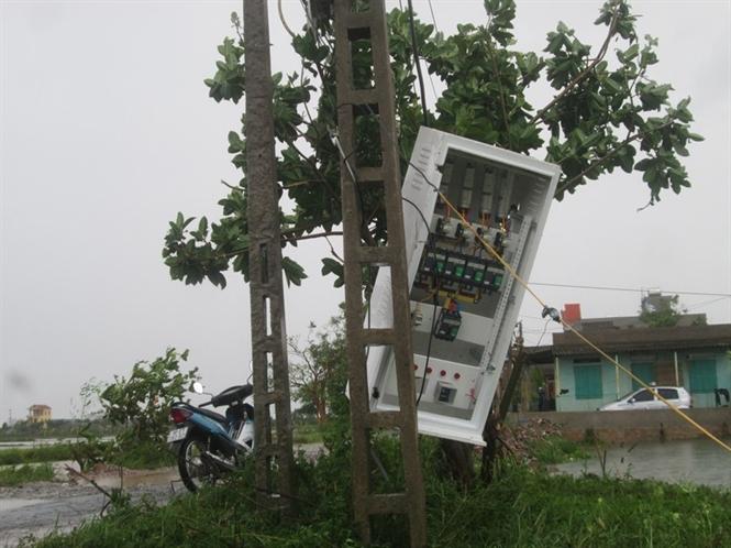 Một hộp điện bị gió quật mạnh, treo lơ lửng .