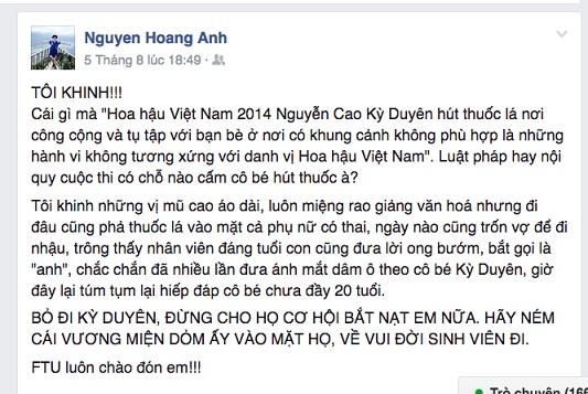 Status gây tranh cãi của TS Nguyễn Hoàng Ánh