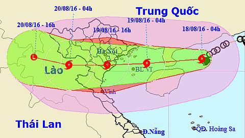 Vị trí và hướng di chuyển của cơn bão số 3. Ảnh: TTKTTVTW