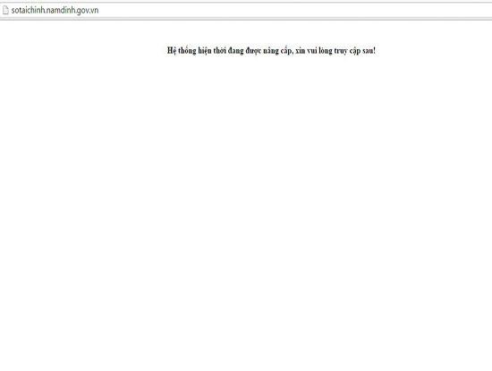Mặc dù sự cố bị tấn công thay đổi giao diện vào ngày 1/8/2016 đã được khắc phục, nhưng hiện nay trang web của Sở Tài chính Nam Định vẫn tạm dừng hoạt động để nâng cấp hệ thống (Ảnh chụp màn hình lúc gaanf19h ngày 3/8/2016)
