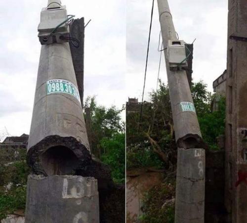 Cột điện bị gãy (hình ảnh minh họa).