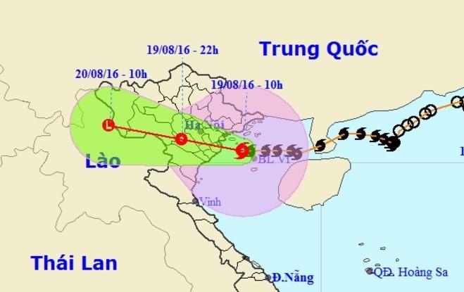 Đến 17h ngày 19/8, vị trí tâm bão ở trên đất liền các tỉnh Quảng Ninh-Thái Bình. Nguồn: NCHMF.