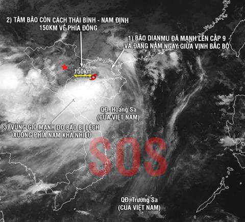 """Trưa nay bão """"Thần sét"""" giật cấp 12 – 14 sẽ đổ bộ Nam Định, Thái Bình, Quảng Ninh"""