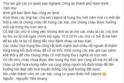 Đây là 1 dòng STT được đăng tải trên mạng xã hội trong lễ hội Trung Thu tại Nam Định 2016