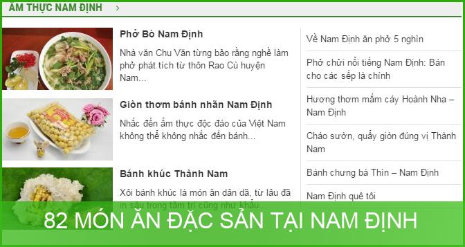 82 Đặc sản, Món ăn tại Nam Định