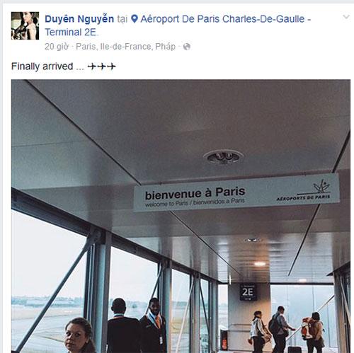Sau đó, Kỳ Duyên đăng ảnh check in tại Paris