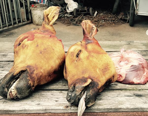 Chùm ảnh: Rùng mình với cảnh thịt bò, bê ngập chợ Viềng