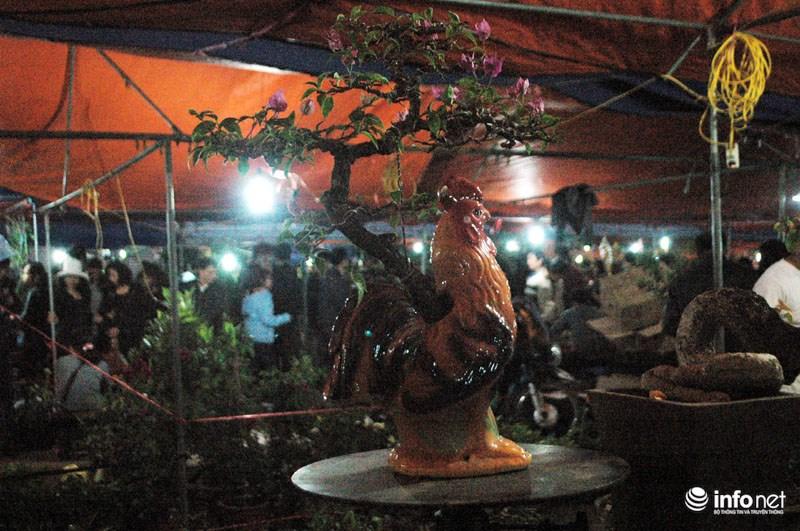 """Anh Nguyễn Văn Bình  cho biết: """"Gian hàng cây cảnh của tôi có trị giá gần 100 triệu đồng nhưng chỉ có mỗi chú gà trống cõng cây cảnh là đắt nhất, giá khoảng 10 triệu đồng""""."""
