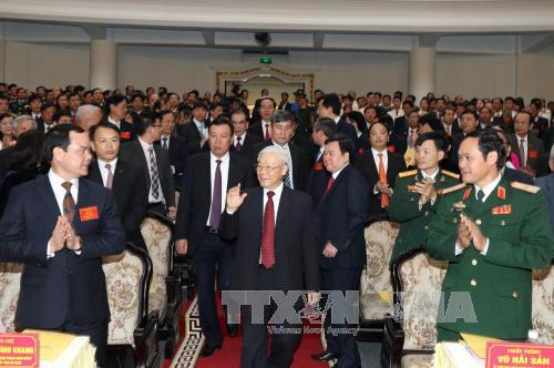 Tổng Bí thư Nguyễn Phú Trọng đến dự Lễ kỷ niệm. Ảnh:Trí Dũng/TTXVN