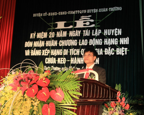 Ông Đặng Ngọc Cường, Chủ tịch UBND huyện Xuân Trường phát biểu tại buổi lễ.