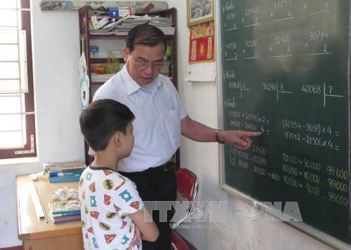 Lớp học của các em khuyết tật trí tuệ.
