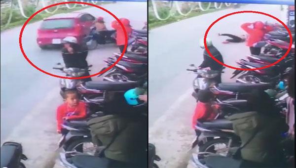 Hải Hậu: Clip dừng xe giữa đường, cô gái bị ô tô tông bay người