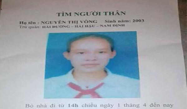 Nam Định: Nữ sinh lớp 9 mất tích khi đi cùng người đàn ông lạ mặt