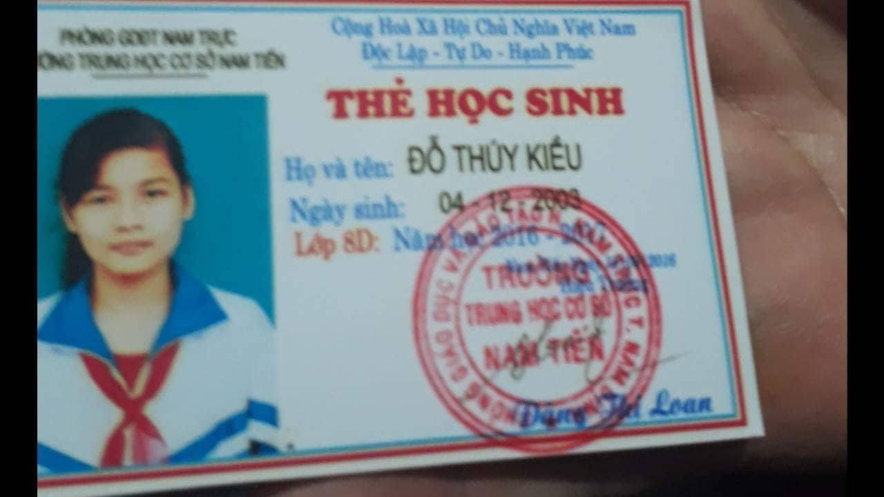 Thẻ học sinh của em Đỗ Thúy Kiều.