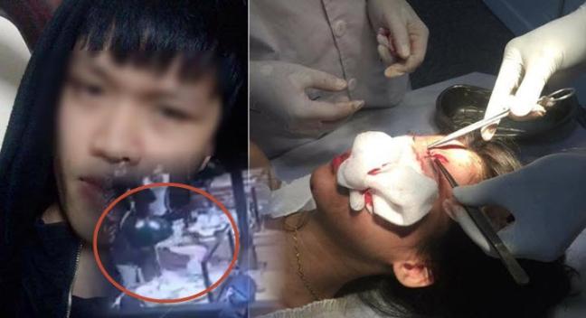 Clip gã trai Nam Định ném ly và đánh 2 cô gái dã man ở quán nướng