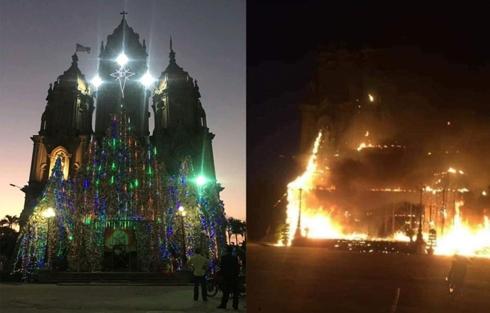 Hang đá Noel cao 20m ở Nam Định bốc cháy ngùn ngụt trước thềm Giáng Sinh