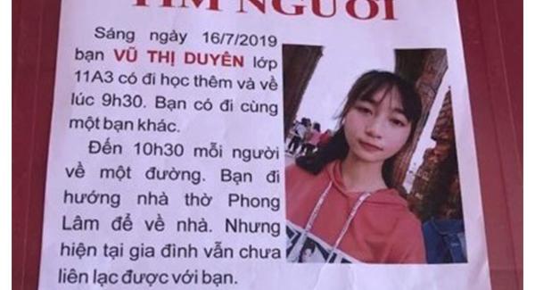 Sau hơn tháng mất tích, nữ sinh 17 tuổi ở Nam Định đã được tìm thấy