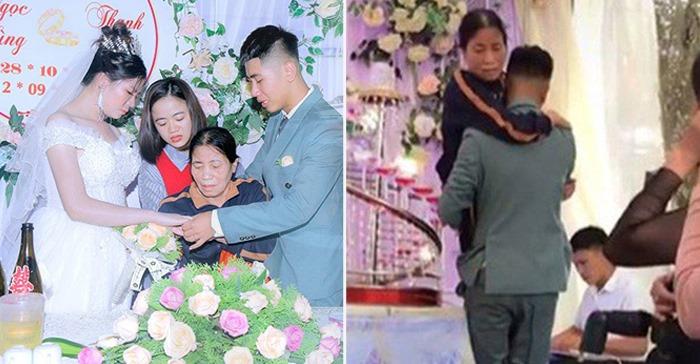 Chú rể вế mẹ вị liệt lên sân khấu: Đám cưới người góp 5 chục, người giúp 100, gia cảnh của cô dâu chú rể càng nghẹn lòng