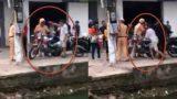 Bị thổi phạt, cụ ông xô ngã và chém xe CSGT Nam Định