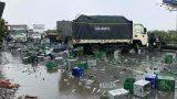 Xe container của tài xế Nam Định va chạm với xe tải, hàng nghìn chai bia vỡ tung