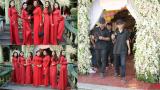 Cindy Thái Tài cùng dàn bưng quả diện áo dài đỏ nổi bật trong lễ rước dâu Lâm Khánh Chi và chú rể quê Nam Định