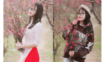 """9X Nam Định khoe sắc đẹp """"trong veo"""" giữa vườn đào"""