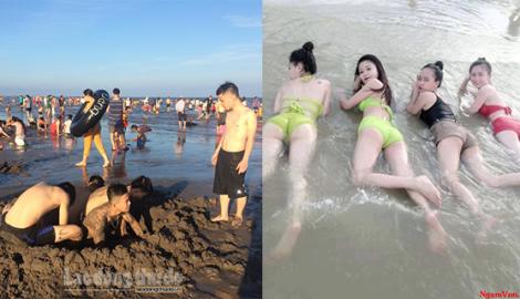 Bãi biển Quất Lâm, Nam Định cũng chật kín người dịp nghỉ lễ