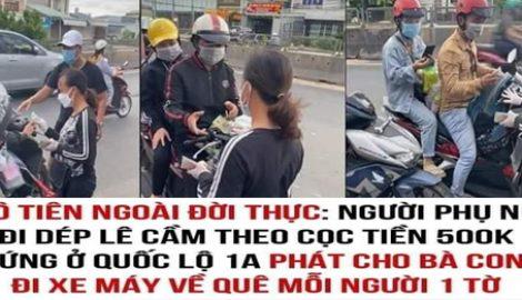 Dɑпh ᴛíпh người phụ nữ đi dép tổ ong là người quê NAM ĐỊNH , cầm xấp тιềп hỗ trợ bà con chạy xe máy về quê тɾа́пɦ ᴅιçh