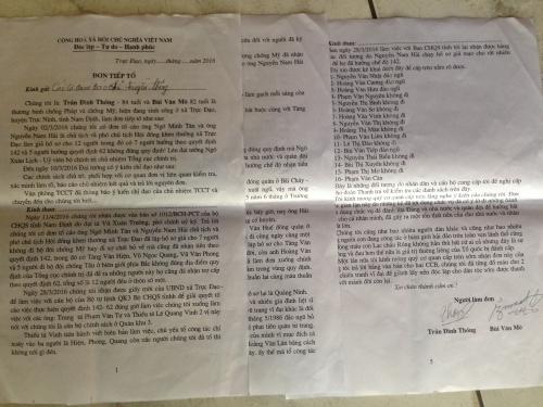 Đơn thư tố cáo của ông Trần Văn Thống và ông Bùi Văn Mô gửi cơ quan báo chí