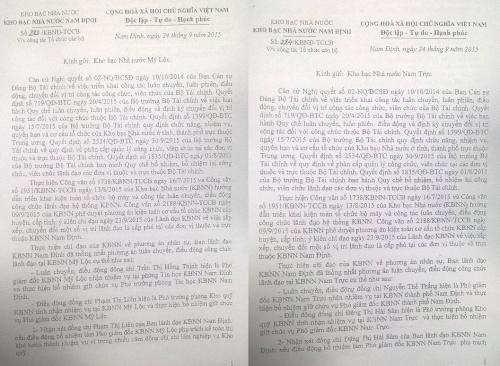 Văn bản gửi Kho bạc Nam trực và Mỹ Lộc về việc phê duyệt phương án kiện toàn cơ cấu tổ chức Kho bạc Nhà nước cấp tỉnh, huyện.