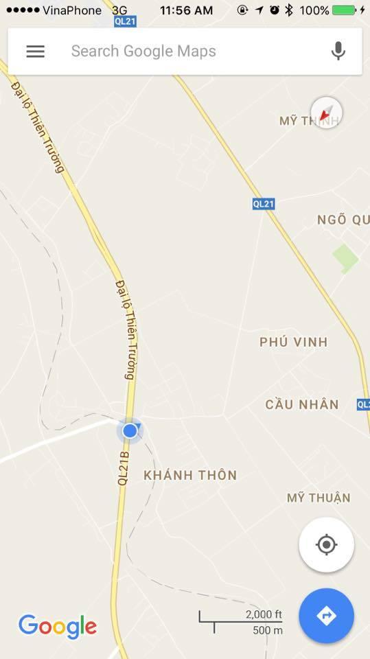 Vị trí chỗ rẽ trên bản đồ Google Maps. Ảnh FBNV
