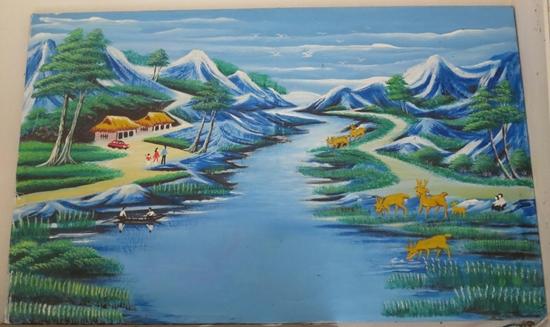 Một bức tranh do ông Huyền vẽ