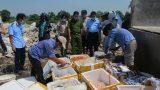 Nam Định : Tiêu hủy gần nửa tấn thực phẩm tươi sống không rõ nguồn gốc xuất xứ
