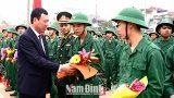 Nam Định: Các đồng chí lãnh đạo tỉnh dự lễ giao, nhận quân 2018 tại các địa phương